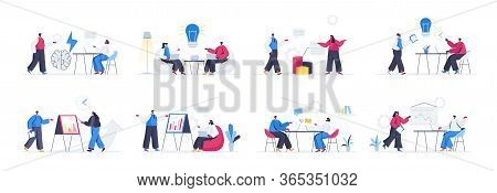 Bundle Of Brainstorming Team Scenes. Business Idea Generation, New Solution Discussion And Presentat