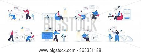 Bundle Of Programming Scenes. Frontend And Backend Developers Working In Office, Software Design And