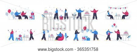 Bundle Of Birthday Party Scenes. Cheerful Friends Celebrating And Congratulating, Gift Presenting An