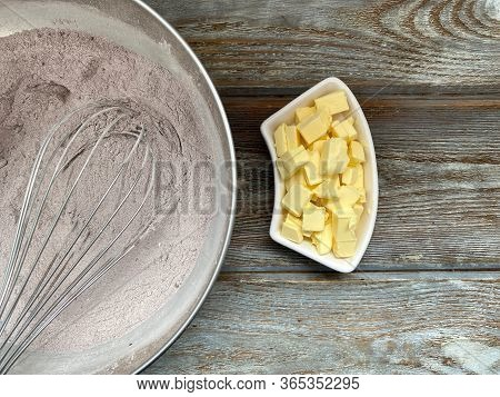 Dry Mix Of Flour And Sugar With Cocoa, Add Butter, In A Metal Bowl Ready For The Recipe Of Chocolate