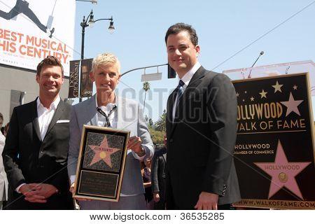 LOS ANGELES - SEP 4:  Ryan Seacrest, Ellen DeGeneres, Jimmy Kimmel at the Hollywood Walk of Fame Ceremony for Ellen Degeneres at W Hollywood on September 4, 2012 in Los Angeles, CA