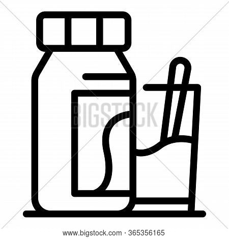 Bottle With Potion And Glass Icon. Outline Bottle With Potion And Glass Vector Icon For Web Design I