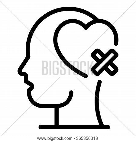 Head Heart With Band Aid Icon. Outline Head Heart With Band Aid Vector Icon For Web Design Isolated