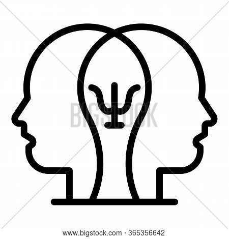Two Heads Psychology Icon. Outline Two Heads Psychology Vector Icon For Web Design Isolated On White