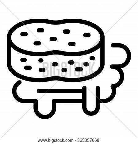 Sponge And Dishwashing Liquid Icon. Outline Sponge And Dishwashing Liquid Vector Icon For Web Design