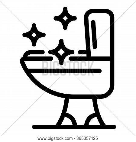 Sparkling Toilet Bowl Icon. Outline Sparkling Toilet Bowl Vector Icon For Web Design Isolated On Whi