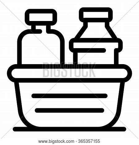 Detergent Bottles In Container Icon. Outline Detergent Bottles In Container Vector Icon For Web Desi