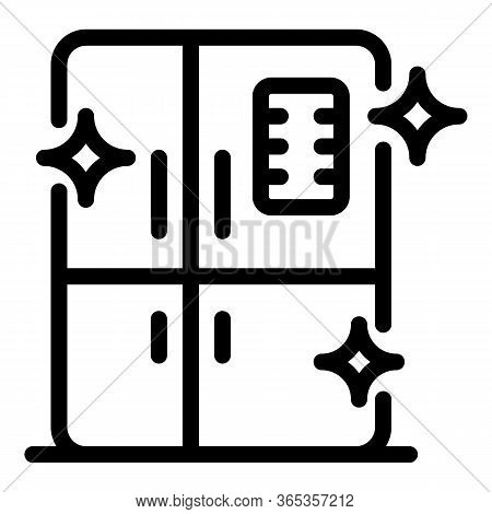 Cleaning Fridge Icon. Outline Cleaning Fridge Vector Icon For Web Design Isolated On White Backgroun