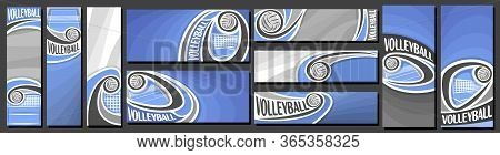 Vector Set Of Volleyball Banners, Vertical And Horizontal Decorative Templates For Volleyball Events