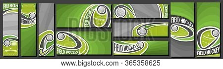 Vector Set Of Field Hockey Banners, Vertical And Horizontal Decorative Templates For Field Hockey Ev