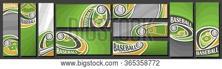 Vector Set Of Baseball Banners, Vertical And Horizontal Decorative Art Templates For Baseball Events
