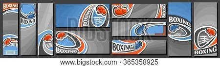 Vector Set Of Boxing Banners, Vertical And Horizontal Decorative Templates For Boxing Events With Il