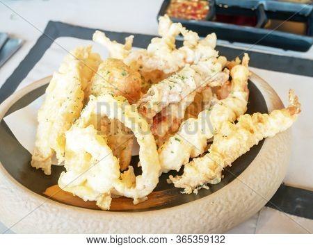 Mix Tempura Consists Of Shrimp, Squid, Kisu Fish And Vegetable.