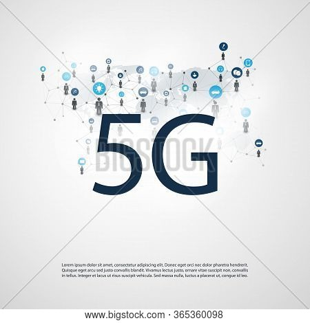 5g Network Label With Wire Mesh, Icons And World Map - High Speed, Broadband Mobile Telecommunicatio