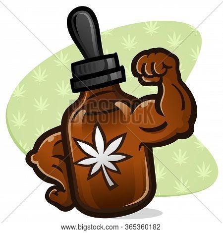 An Amber Colored Bottle Of Maximum Strength Cbd Cannabis Oil Cartoon Character With Big Strong Bulgi