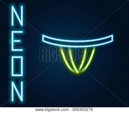 Glowing Neon Line Woman Panties Icon Isolated On Black Background. Girls Underpants. Lady Lingerie.