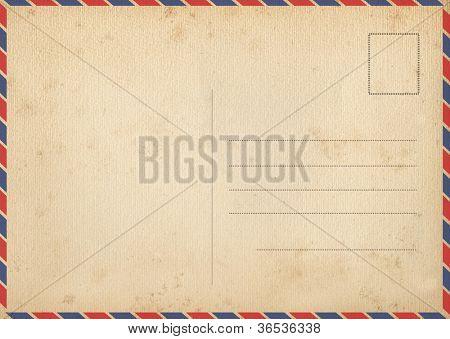 Back of vintage air mail postcard