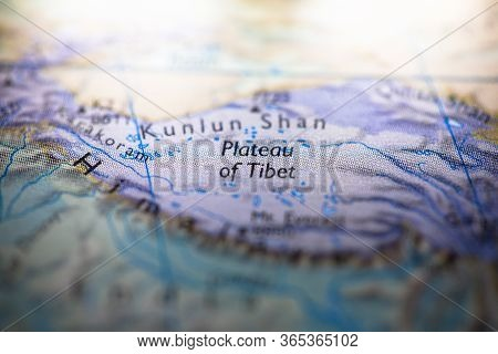 Geographical Map Location Of Plateau Of Tibet Region Nepal In Asia Continent On Atlas