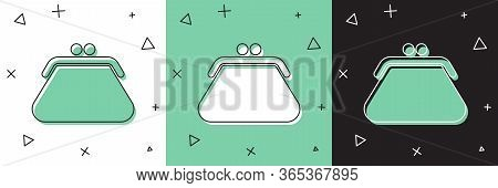 Set Clutch Bag Icon Isolated On White And Green, Black Background. Women Clutch Purse. Vector Illust