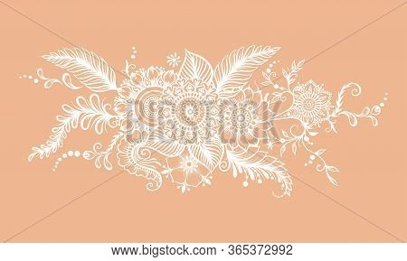Eastern Ethnic Style Compositions, Mehendi, Traditional Indian White Henna Floral Ornament. Element