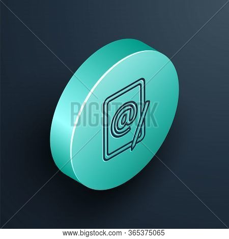 Isometric Line Mail And E-mail Icon Isolated On Black Background. Envelope Symbol E-mail. Email Mess