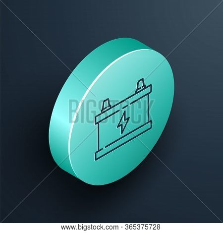 Isometric Line Car Battery Icon Isolated On Black Background. Accumulator Battery Energy Power And E