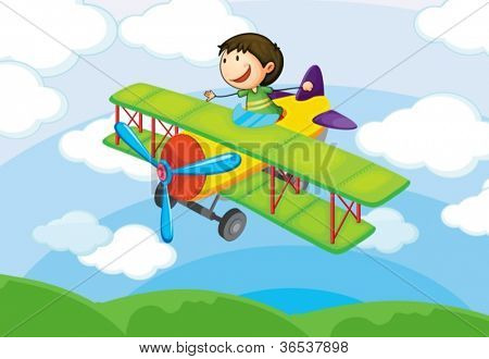 illustration of a boy on a aircraft in the sky