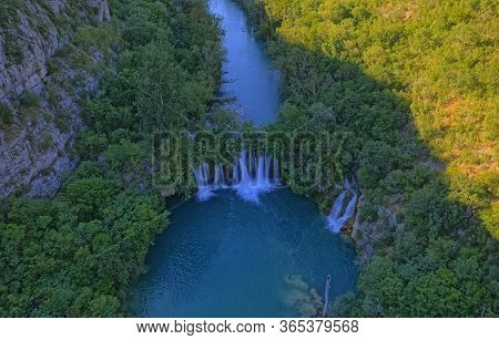 Aerial View Of The Canyon Of Waterfall Located In Promina County At Dalmatian Zagora In Croatian Nat