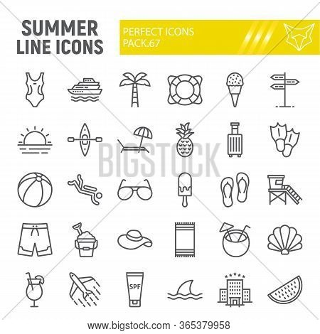 Summer Line Icon Set, Travel Symbols Collection, Vector Sketches, Logo Illustrations, Beach Icons, T