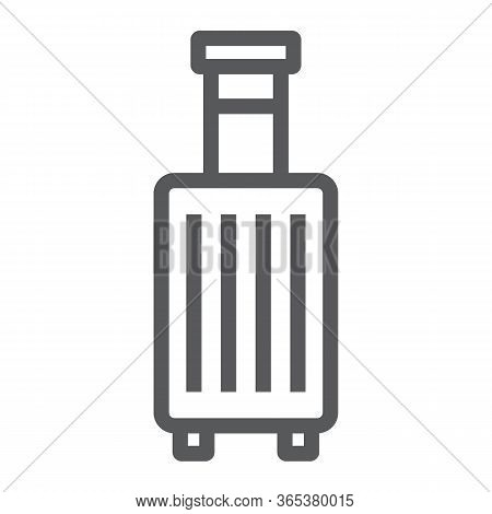 Suitcase line icon, travel and luggage, luggage sign vector graphics, a linear icon on a white background, eps 10.