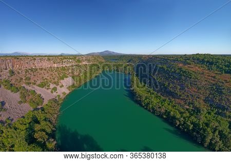 Aerial Stiched Panorama Of The Brljan Lake Located Downstream Of Bilusic Buk On The Exit From Canyon