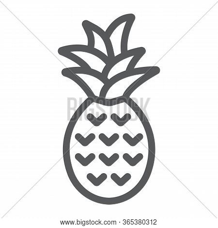 Pineapple Line Icon, Fruit And Tropical, Ananas Sign Vector Graphics, A Linear Icon On A White Backg