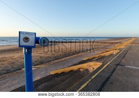 Prestatyn, Uk : Jul 2, 2019: Owl Telescopes Are Coin Operated Telescopes Which Can Be Found At Vario