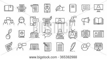 Storyteller Icons Set. Outline Set Of Storyteller Vector Icons For Web Design Isolated On White Back