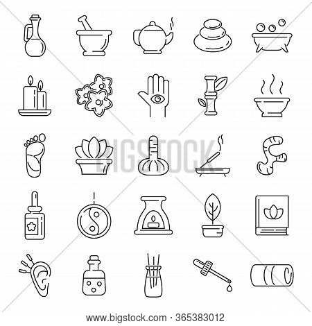 Ayurveda Icons Set. Outline Set Of Ayurveda Vector Icons For Web Design Isolated On White Background