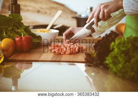 Unknown Human Hands Cooking In Kitchen. Woman Slicing Red Tomatoes. Healthy Meal, And Vegetarian Foo