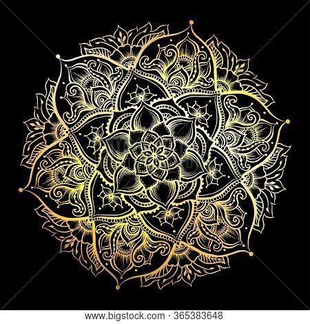 Mandala. Vintage Round Pattern. Hand Drawn Abstract Background. Traditional Indian Henna Mehendi Tat