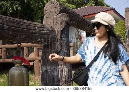 Travelers Thai Women Travel Visit And Rite Ritual Knock Metal Bell For Respect Pray God Angel Buddha