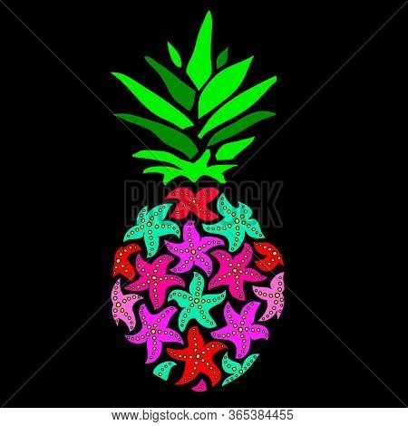 Pineapple Vector Illustration. The Pineapple Of Sea Stars On A Black Background. Pineapple In The Di