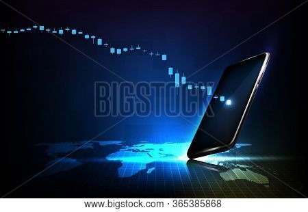 Abstract Background Of Futuristic Technoalogy Economy Crisis Down Stock Market Graph With Smart Mobi