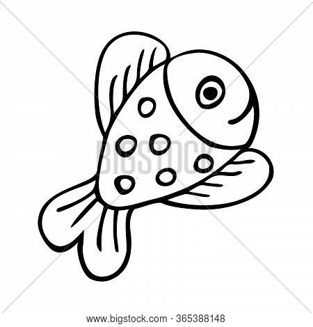 Happy Fish Icon - Uncolored Vector Illustration, Cartoon Fish Character With A Smile A Dotted Patter