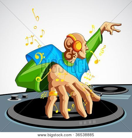 illustration of disco jockey playing music in discotheque
