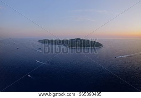 Aerial Drone Sunset Stiched Hires Panorama Of The Island Lokrum Near Dubrovnik Old City In Croatia E