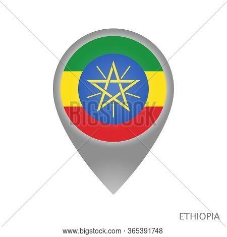 Map Pointer With Flag Of Ethiopia. Colorful Pointer Icon For Map. Vector Illustration.