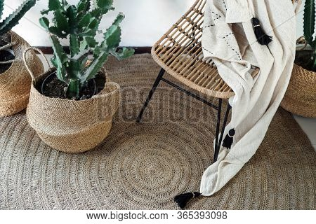 High Angle View Of Room At Cozy House With Stylish Interior Design, Elegant Decor, Wicker Chair, Pla