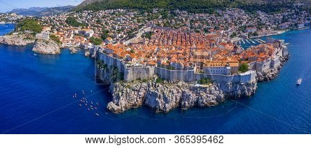 Wide Aerial Stiched Panorama Of The Dubrovnik Old Town In Croatia