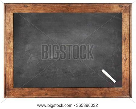 Empty Green Chalkboard Texture Hang On The White Wall. Double Frame From Green Board And White Backg