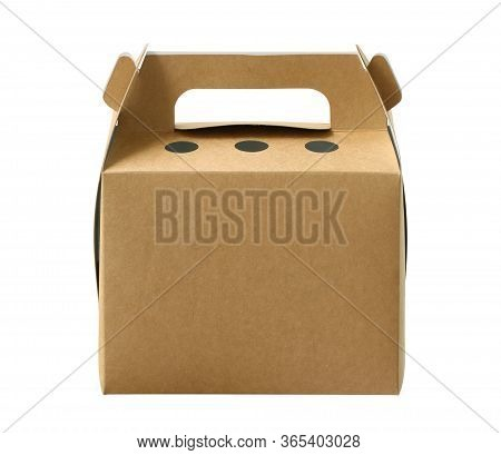 Paper Bakery Box With Handle (clipping Path Included) Isolated On White Background