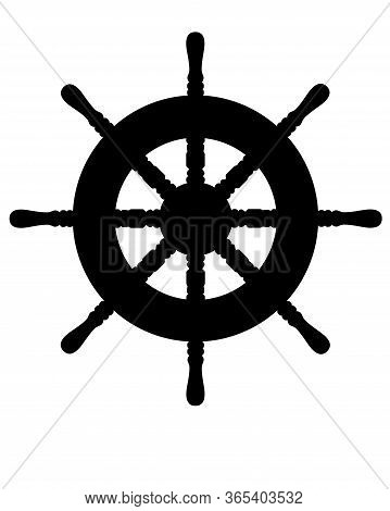 Steering Wheel - Black Vector Silhouette For Logo Or Pictogram. Steering Wheel Of A Yacht Or Ship -