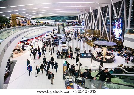 Budapest, Hungary - February 18,  2020: Ferenc Liszt International Airport Budapest architecture and passengers around. Ferenc Liszt Airport in Budapest is the largest airport in Hungary.